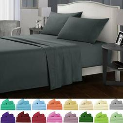Soft Bed Sheets Set 3/4 Piece Deep Pocket Fitted Flat Queen