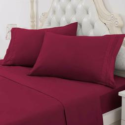 Soft Bed Sheets Set 4 Piece Deep Pocket Bedding Sets Wrinkle