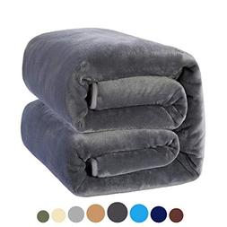 MEROUS Soft King Fleece Bed Blanket, Dark Grey