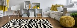 Maxy Home Bella Zebra 5 ft. Round Shag Area Rug