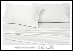 Royal's Solid White 1000 Thread Count 4pc Queen Bed Sheet Se