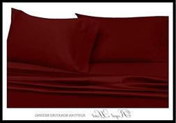 Solid Burgundy Queen Size Sheets, 4PC Bed Sheet Set, 100% Co