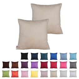 Queenie - 2 Pcs Solid Color Faux Suede Decorative Pillowcase