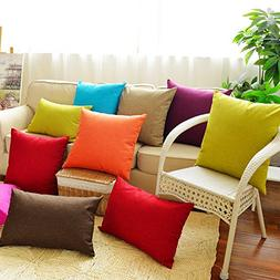 Huacel Solid Multiple Color Simple Linen Throw Pillow Cases