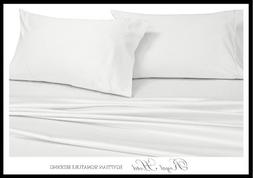 Royal's Solid White 250-Thread-Count 4pc Queen Bed Sheet Set