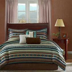 Southwest Turquoise Native American Queen Comforter, Shams,