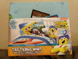 Nickelodeon SPONGEBOB SQUAREPANTS Twin Bed  Sheet Set  Pillo