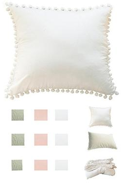Meaning4 Square Washed Cotton Throw Pillow Case Hanging Pomp