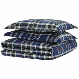 Stone  Beam Rustic Plaid Flannel Yarn-Dyed Duvet Set, Full/Q