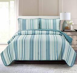 Pur Luxe Stripe Quilt Set, Twin, Striped, Teal with Aqua