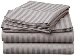 ITALIAN 1500 Thread Count 4PC FULL Sheet Set, Striped GREY