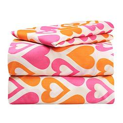 Dor Extreme Super Soft Luxury Orange and Pink Hearts Bed She