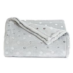 The Big One Super Soft Plush Throw Gray Dots