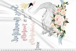 Swan Swan with Roses and Quote for Blanket Fabric Printed by
