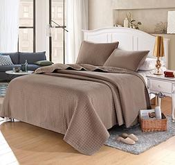 "Taupe Solid Color Quilt 90""l-102""w, 2 Shams 20""l-26""w. Hypoa"