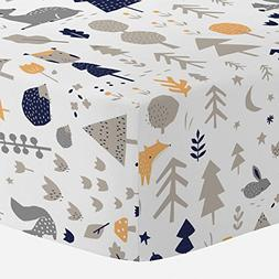 Carousel Designs Taupe and Windsor Navy Baby Woodland Crib S