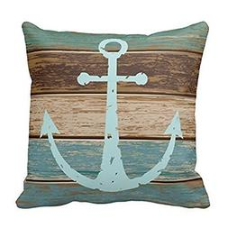 Decorbox Vintage Retro Nautical Anchor Wood Pattern 16x16 In