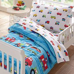 Wildkin 88079 4Piece Toddler Bed-in-A-Bag, 100% Microfiber B