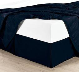 Twin Extra Long Solid Navy Wrinkle-Free Microfiber Bed-Skirt