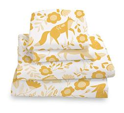 Twin Folk Animal Yellow Print Sheet Set for Kids Bedding- Do