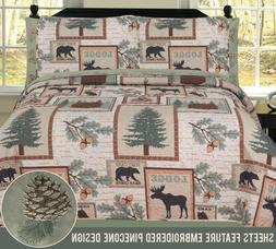 Twin, Full, Queen or King Elk Bear Rustic Lodge Cabin Quilt