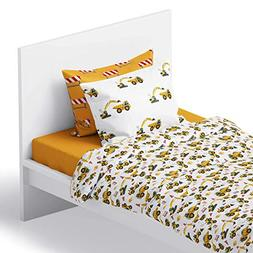 Chital 4Pc Twin Linen Sheet Set - Cute Construction Tractor