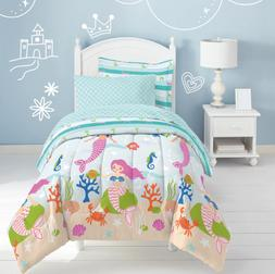 Twin or Full Comforter Set Kids Mermaid Bedding With Sheets