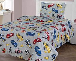 Twin 3 Pieces Printed Kids Sheets Bed Cover with Pillow Case