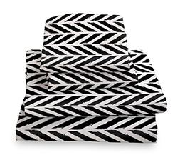 Twin Sheet Set Black and White Herringbone - Microfiber Bedd