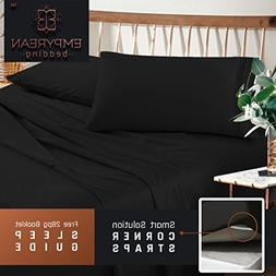 Premium Twin XL  Size Sheets Set Black Hotel Luxury 3-Piece