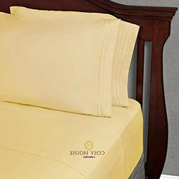 Twin XL Size Bed Sheets - Pastel Yellow Twin Extra Long Bedd