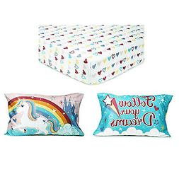 TychoTyke Unicorn Toddler Fitted Sheet Set with Pillow Case