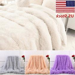 US 130*160cm Long Shaggy Super Soft Throw Blanket Fluffy Fau