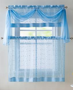 VCNY Embroidered Leaf 4-Piece Kitchen Curtain Tier & Scarf S
