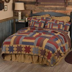 VHC Primitive Cotton Quilt King Queen Patchwork Bedspread Bl