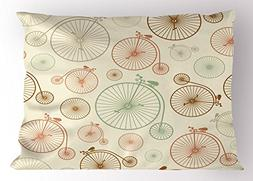 Vintage Pillow Sham by Ambesonne, Vintage Bicycles with Anti