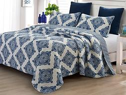Hedaya Home Wallis 3-pc. Quilt Set Full/Queen Navy blue/whit