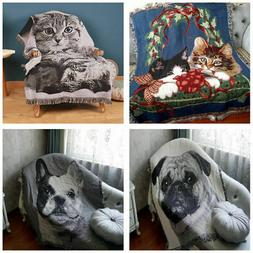 Warm Woven Cotton Blanket Rectangular Cat/Dog Throw Blanket