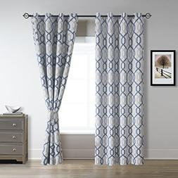 Cherry Home Wave Faux Linen Darkening Blackout Curtains With