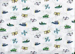Authentic Kids Multicolor on White Airplane Cotton Sheet Set