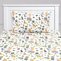 Wild Kingdom Animals Giraffe, Rhino, Lion Kids Sheet Set Twi