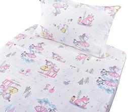 Winter Princess Play at Forest Cotton Cozy Twin Bed Sheet Se
