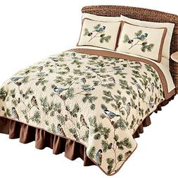 Woodland Birds and Pinecones Quilted Reversible Lightweight