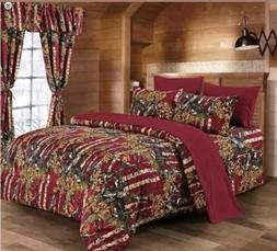 The Woods King Powder Blue Camo 7 Piece Bedding Set Comforte