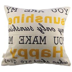 HOSL You Are My Sunshine Cotton Linen Pillow Cover, 17.3 x 1
