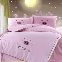 YOYOMALL 100% Cotton Cute Pig Pink Bedding Set,Delicate Embr