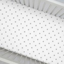 Zak & Zoey  Gray Star Toddler Bed or Crib Sheets 2-Pack