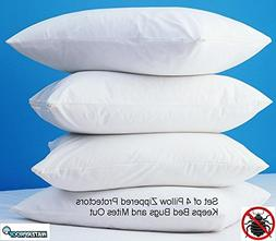 4 Pack Zippered Vinyl Pillow Covers Protects Against Bed Bug